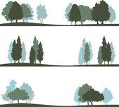 sada různých krajina se stromy