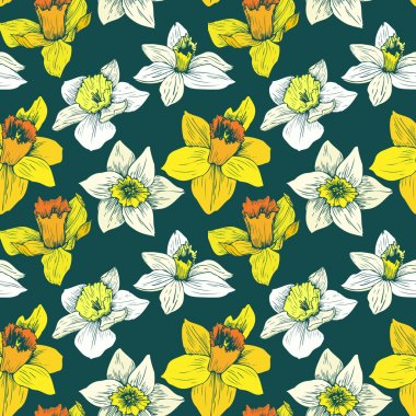 vector seamless floral pattern with narcissuses