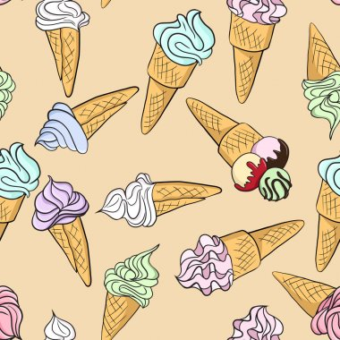 Vector seamless pattern with ice creams