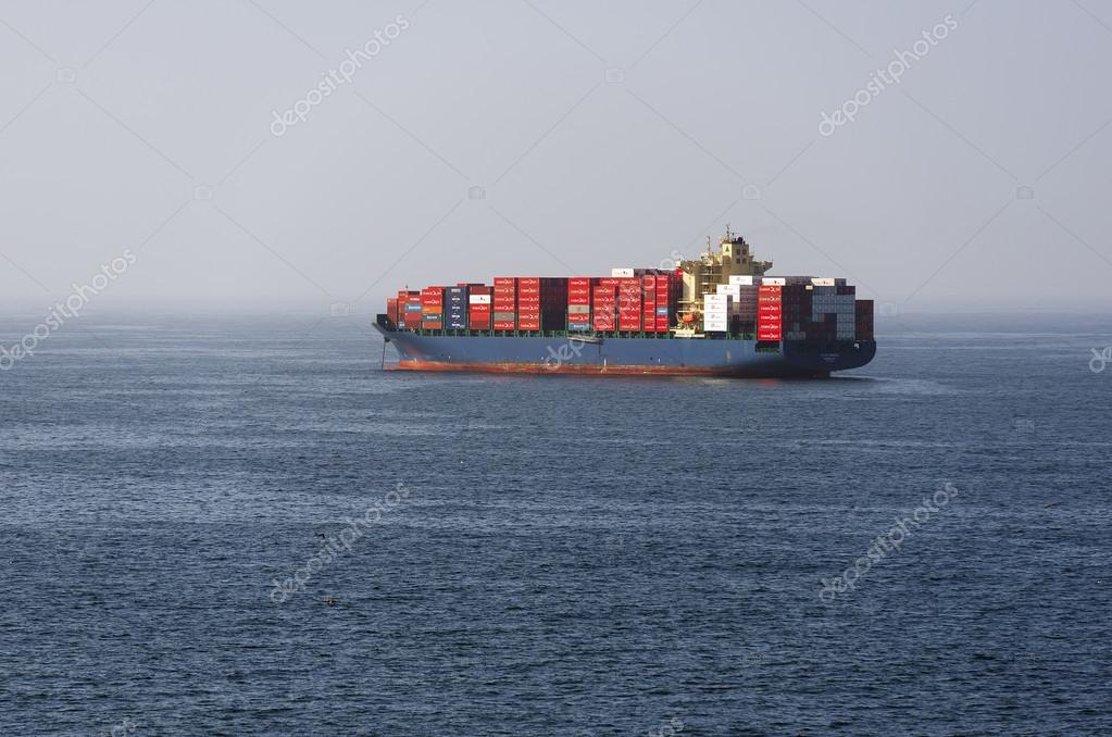 Cargo ship waits unloading at the Valparaiso roadstead