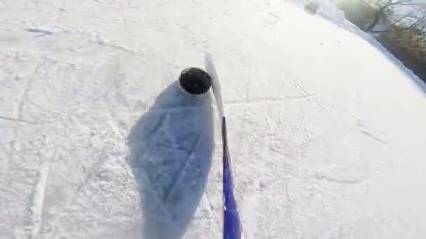 lední hokej driblování s tyč a puk