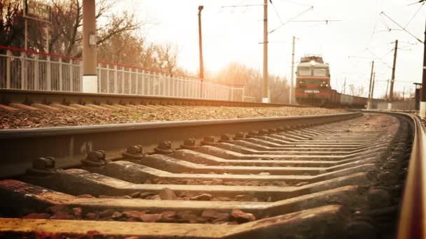 Long soviet era Freight train arrival