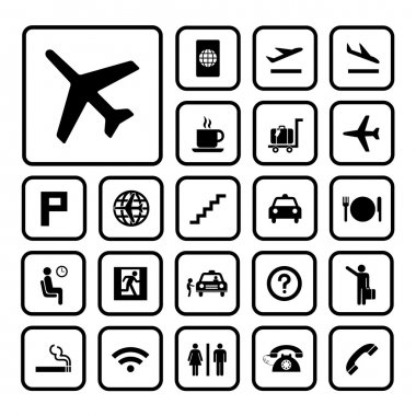 Basic icon set for airport stock vector