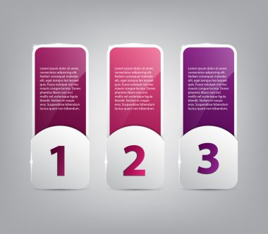 Three paper banners template for step presentation