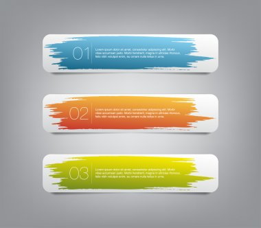 Three colorful vector stickers labels tags with a brush stroke hand painted background