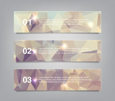 A set of three modern vector banners with polygonal background