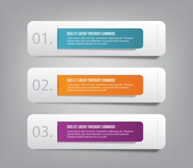 Set of three paper banners with colorful tags