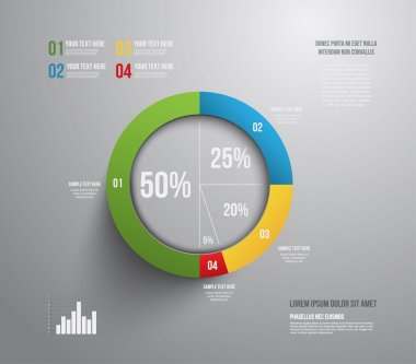 Modern pie chart graphic template can be used for business graphic or workflow layout