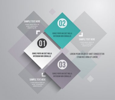 Three modern paper banners template for step presentation can be used for infographics or workflow layout