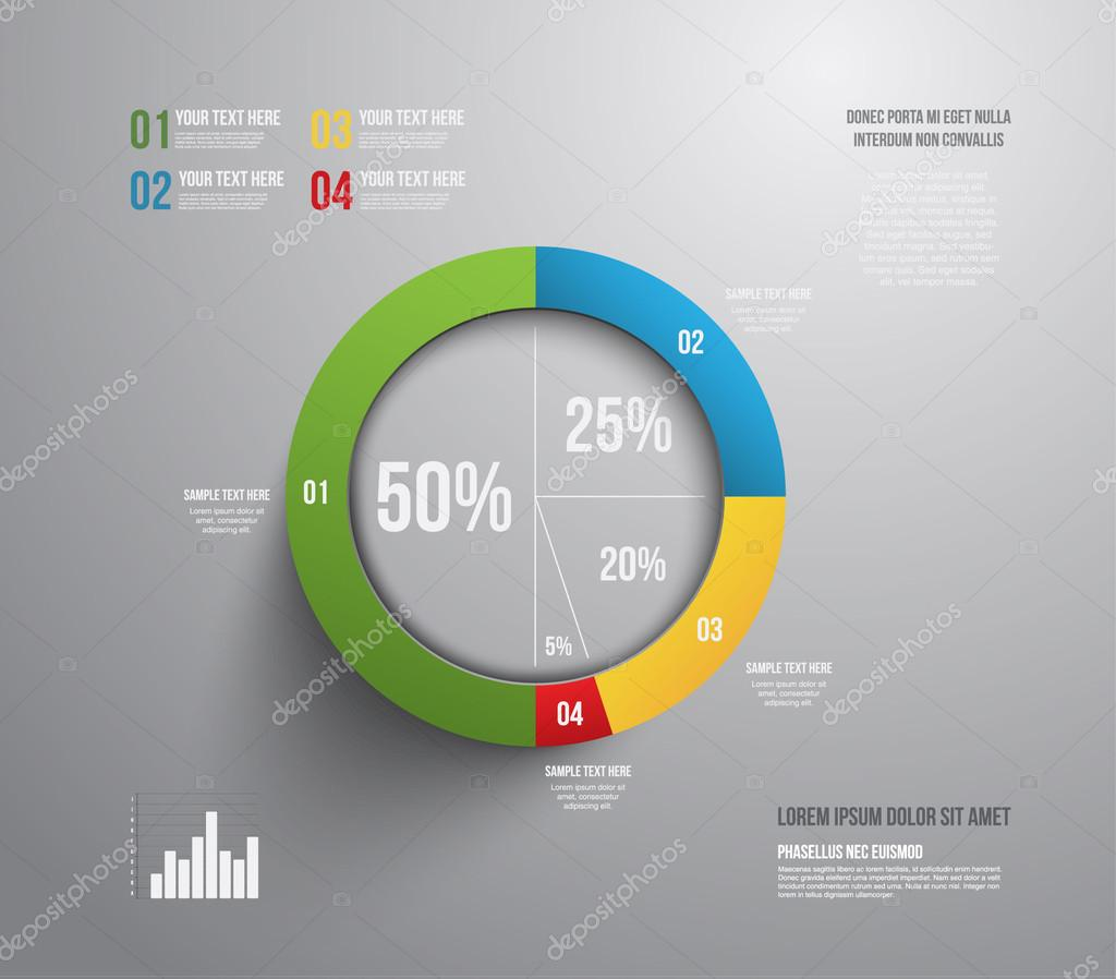 modern pie chart graphic template can be used for business graphic