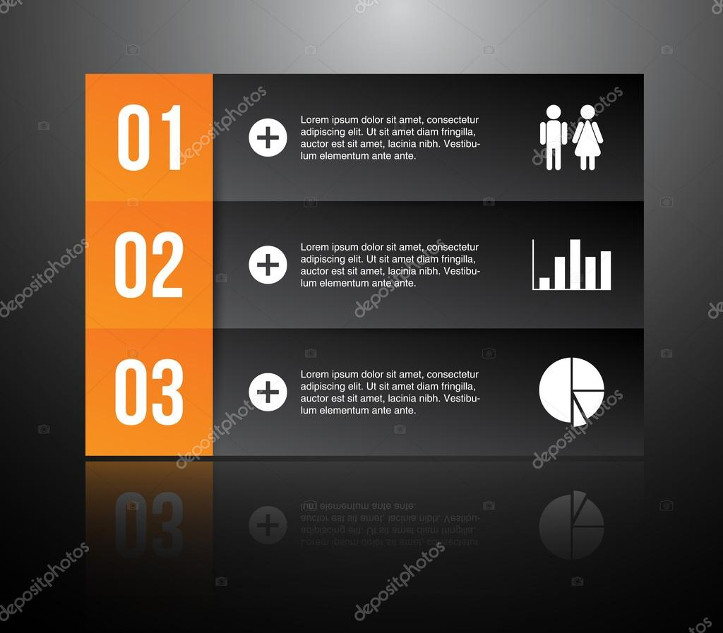 Panel template with reflection for business design