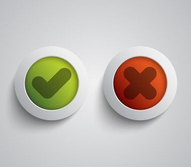 Set of ok and cancel plastic buttons, icons, glossy and modern design for websites