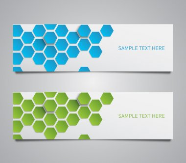 Paper banner with a set of hexagons pattern background