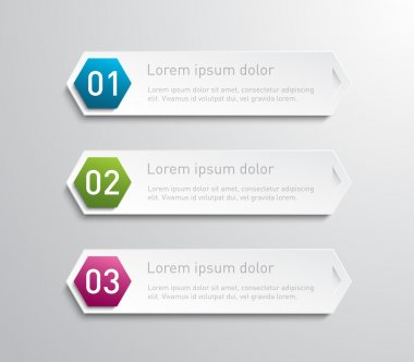Set of hexagonal paper banners for business design