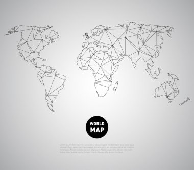 World map background with polygonal triangle