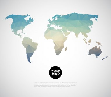 World map background with polygonal triangle style design