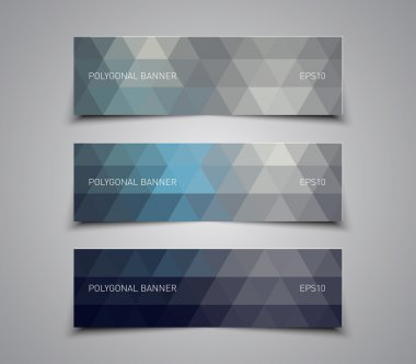 Set of abstract banners with triangles pattern