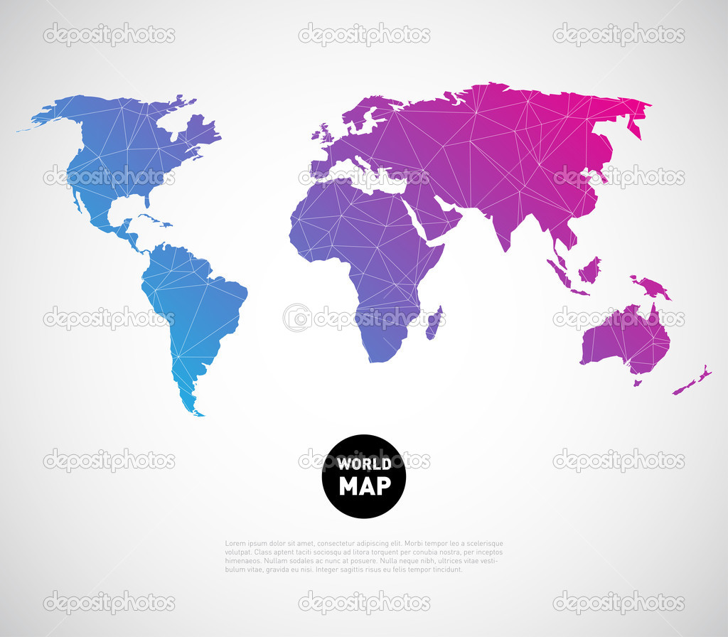 World map background with polygonal triangle stock vector mauro abstract world map background with polygonal triangle style design vector by mauro fabbro gumiabroncs Gallery