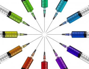 syringes in a circle with colored liquid