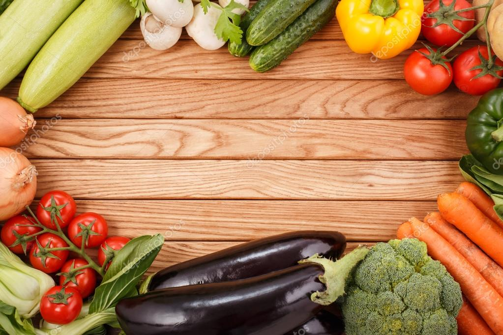Vegetables on wood background — Stock Photo © primopiano ...