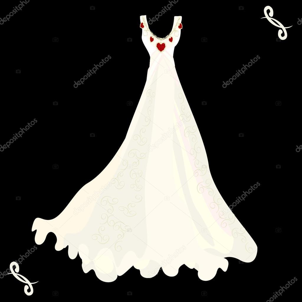 Hochzeitskleid und Halskette auf schwarzem Hintergrund — Stockvektor ...