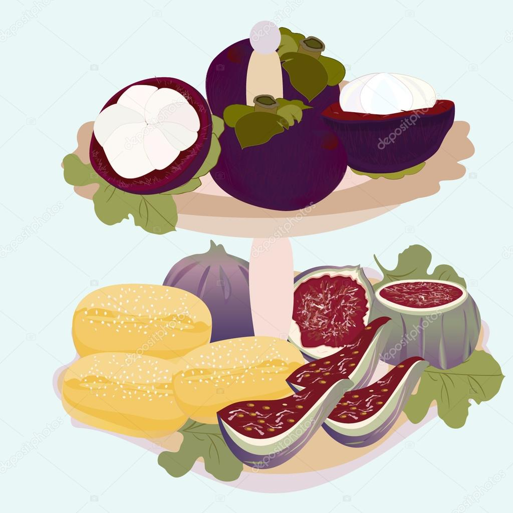 Exotic fruits and biscuits on a plate
