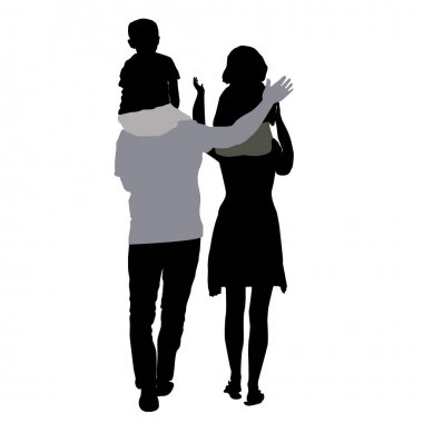 silhouettes of mom and dad with children on shoulders