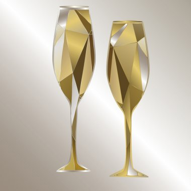 Gold polygonal glasses