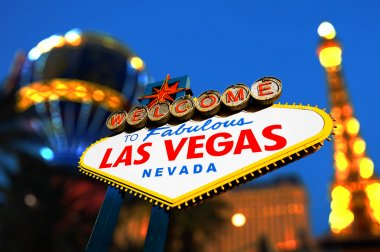 Las Vegas Sign with Vegas Strip in background