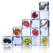 různé ovoce v ledových kostek