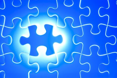 Missing blue jigsaw puzzle piece