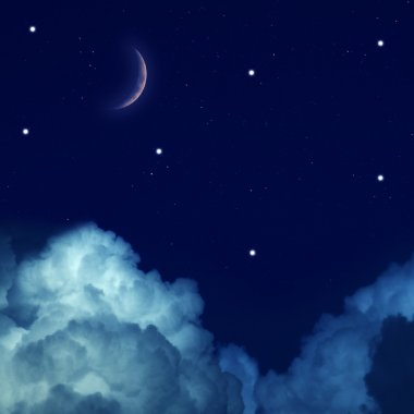 Starry Sky with Moon and clouds