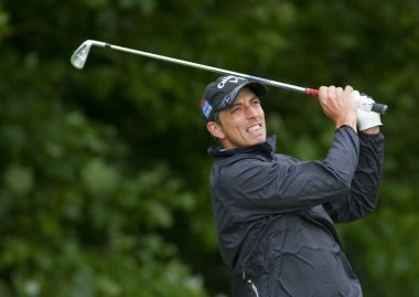 Jamie Elson (GBR) in action on the final day of the European Tour, 14th Open de Saint-Omer.