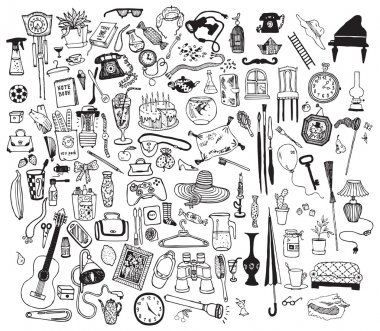 Black and white home related objects set. Hand drawn vector. stock vector