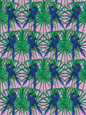 Seamless pattern with hyainth macaws. Hand drawn vector.