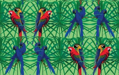 Seamless pattern with macaw parrots sitting on leaves. Hand drawn vector.