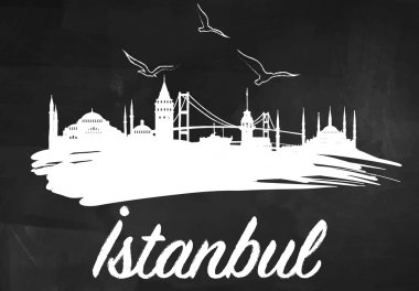 Istanbul Silhouette on the Blackboard
