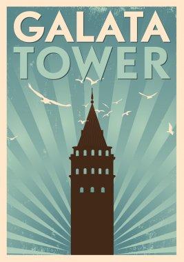 Galata Tower Vintage Poster