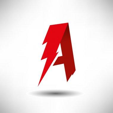 Vector Lightning Bolt Letter A Symbol