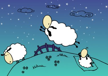 Sheep are jumping over the fence