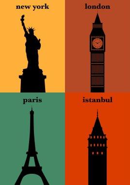 New York, London, Paris, Istanbul posters