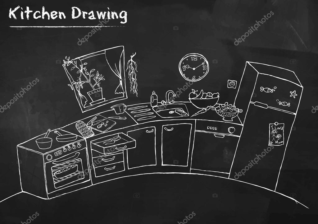 Kitchen Drawing on Blackboard