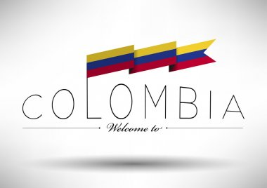 Colombia Flag with Typography Design