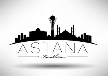 Astana Skyline with Typography Design