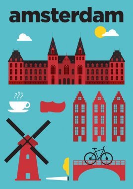 Amsterdam City Icons Poster