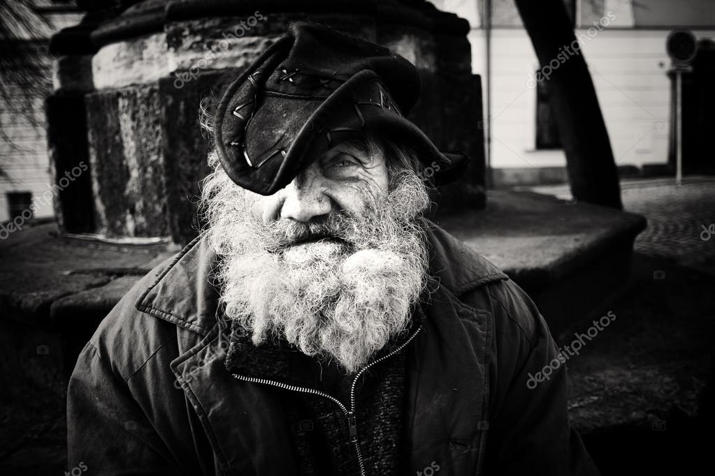 Homeless man emotional portrait