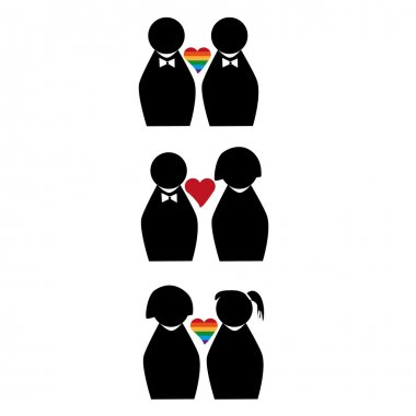 Three different couples with three diferent kinds of relationships stock vector