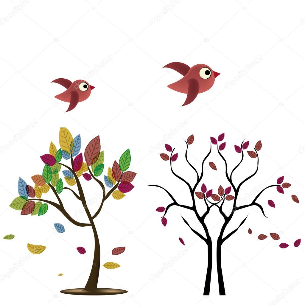 Two Trees With Birds Stock Vector Image By C Jokalar01 35216277