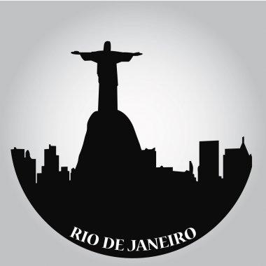Some black silhouettes of the buildings from rio de janeiro clip art vector