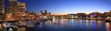 Panorama night scence of Darling harbour, Sydney.